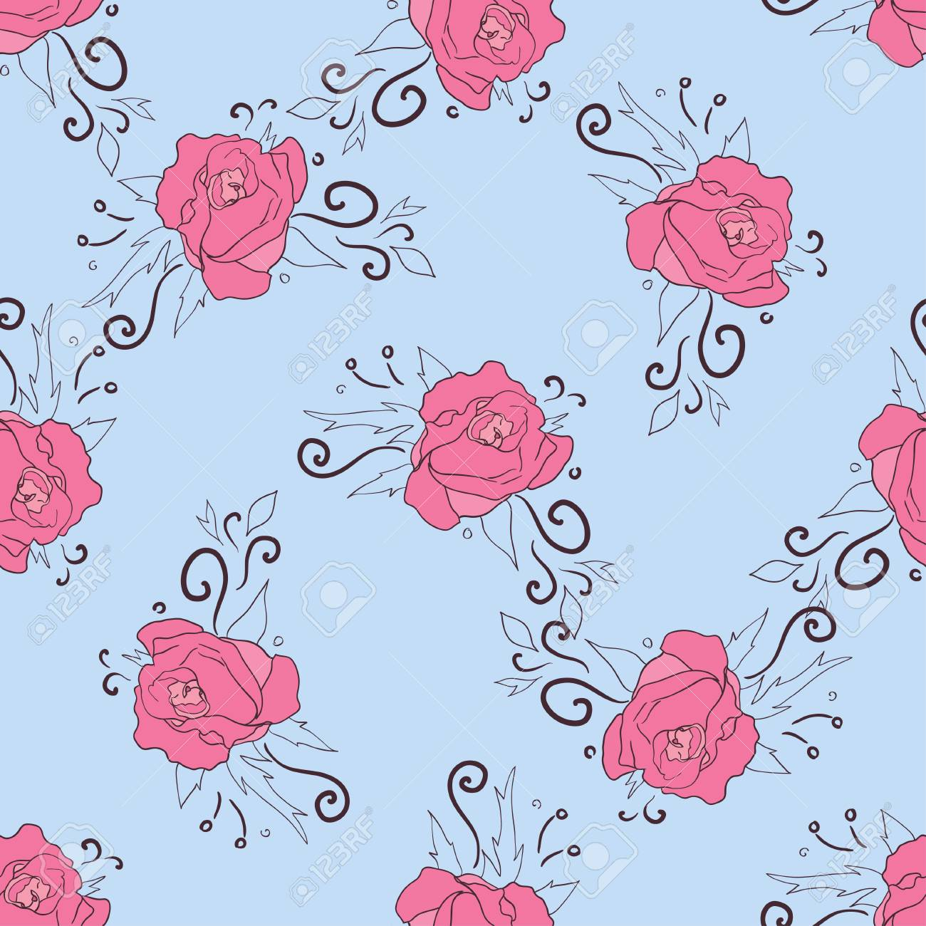 seamless pattern with pink peonies on blue background. floral