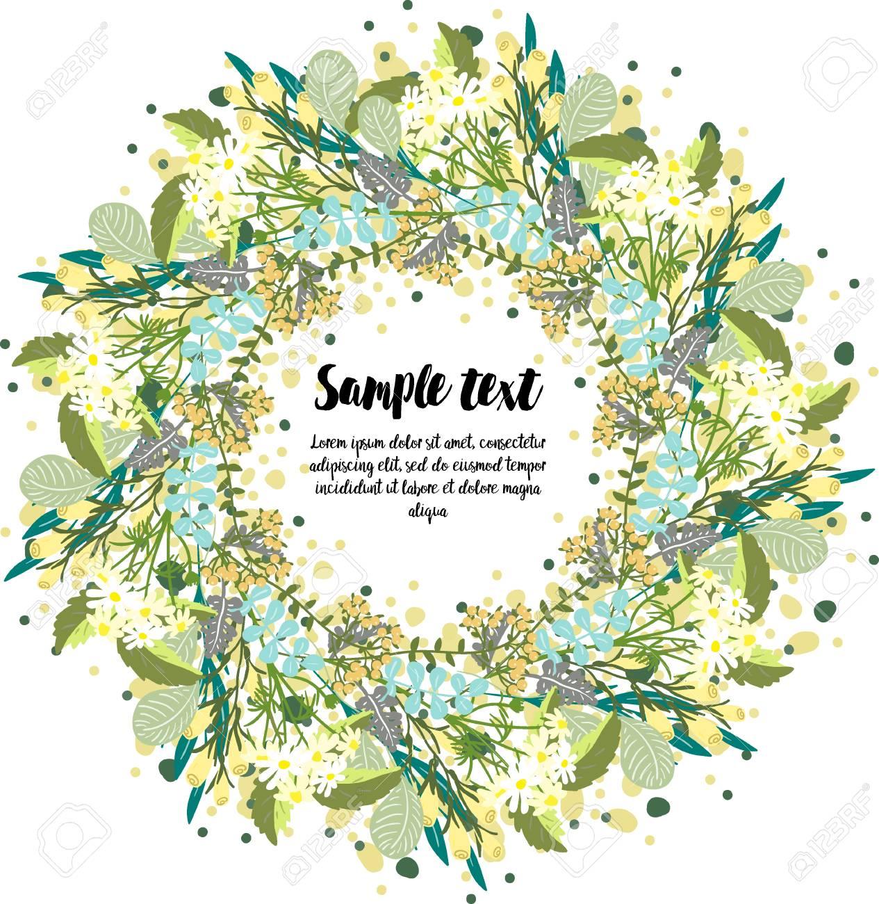 Diseño De Tarjeta De Tarjeta Con Corona De Flores Para La Tarjeta De Invitación Pegatinas Saludo Diseño Para Feliz Día De Acción De Gracias Feliz