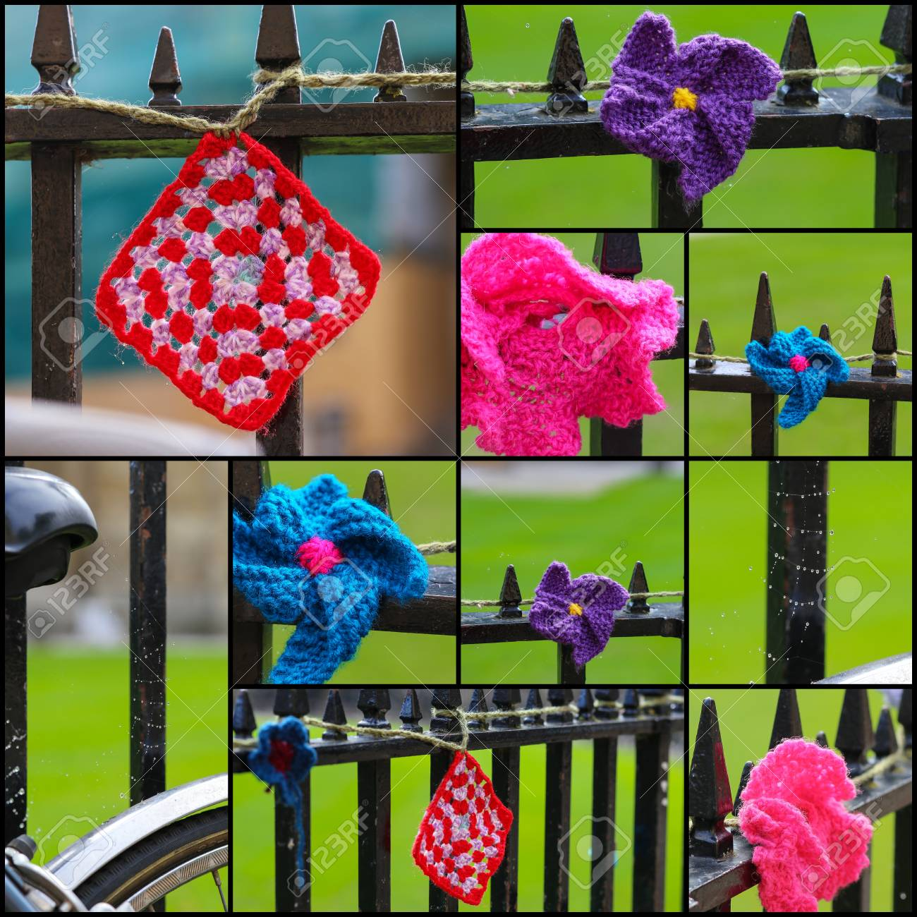 Set Collage A Wrought Iron Fence With Crochets In Front Of A Stock