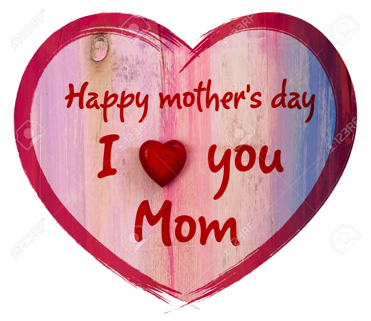 heart shape with i love you mom and happy mothers day message