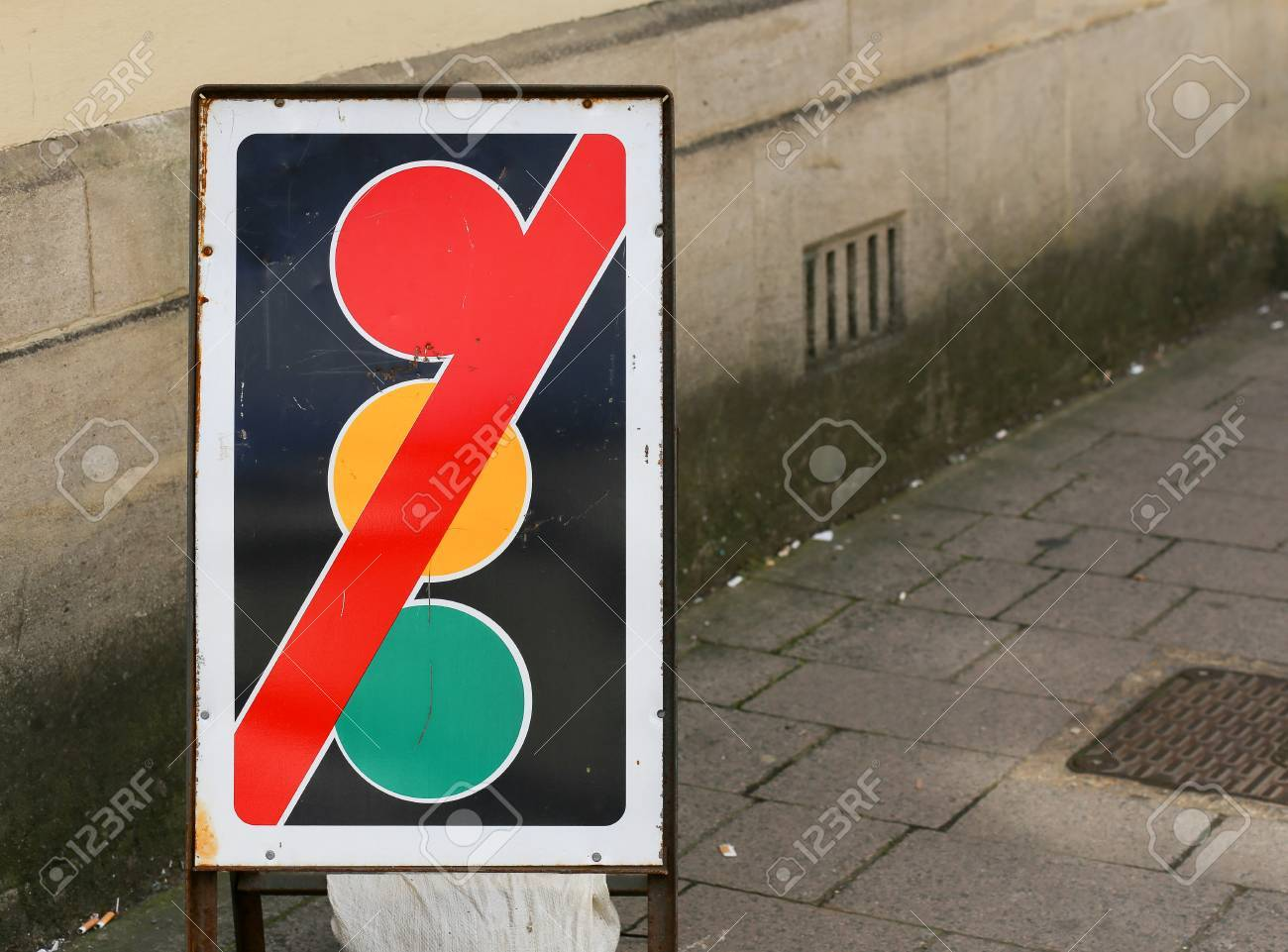 Stock Photo   Traffic Lights Out Of Order Sign On The Street