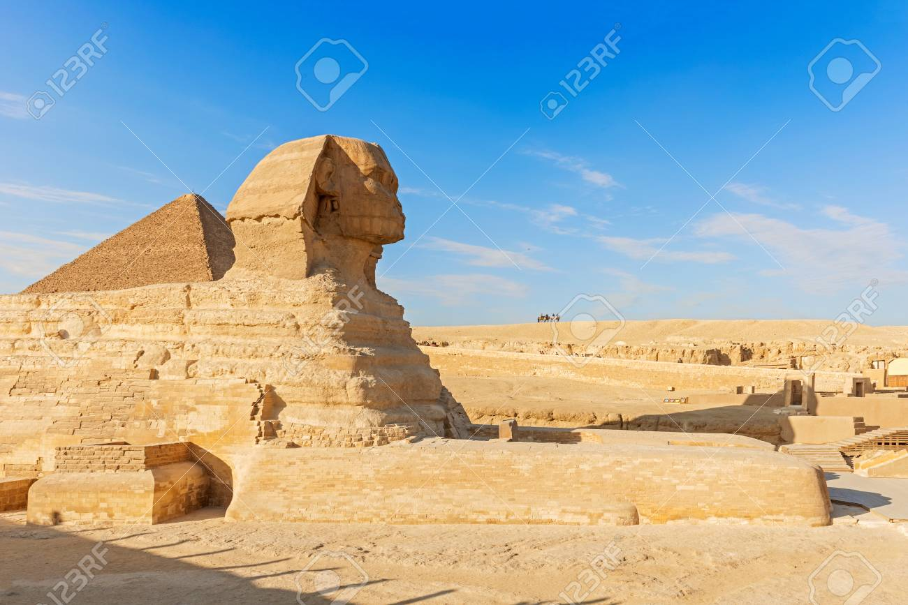 sphinx and pyramid of giza in cairo egypt stock photo picture and
