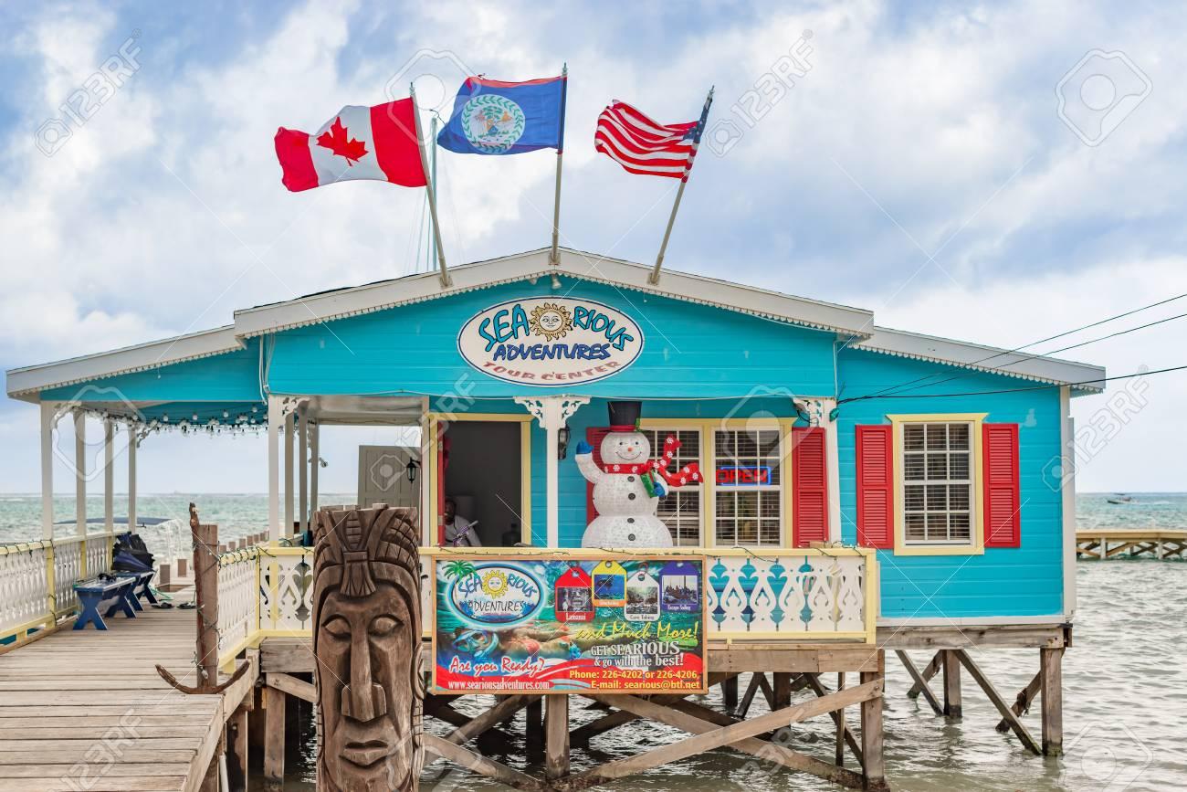 Caye Caulker Belize December 20 2016 Wooden Pier Dock With