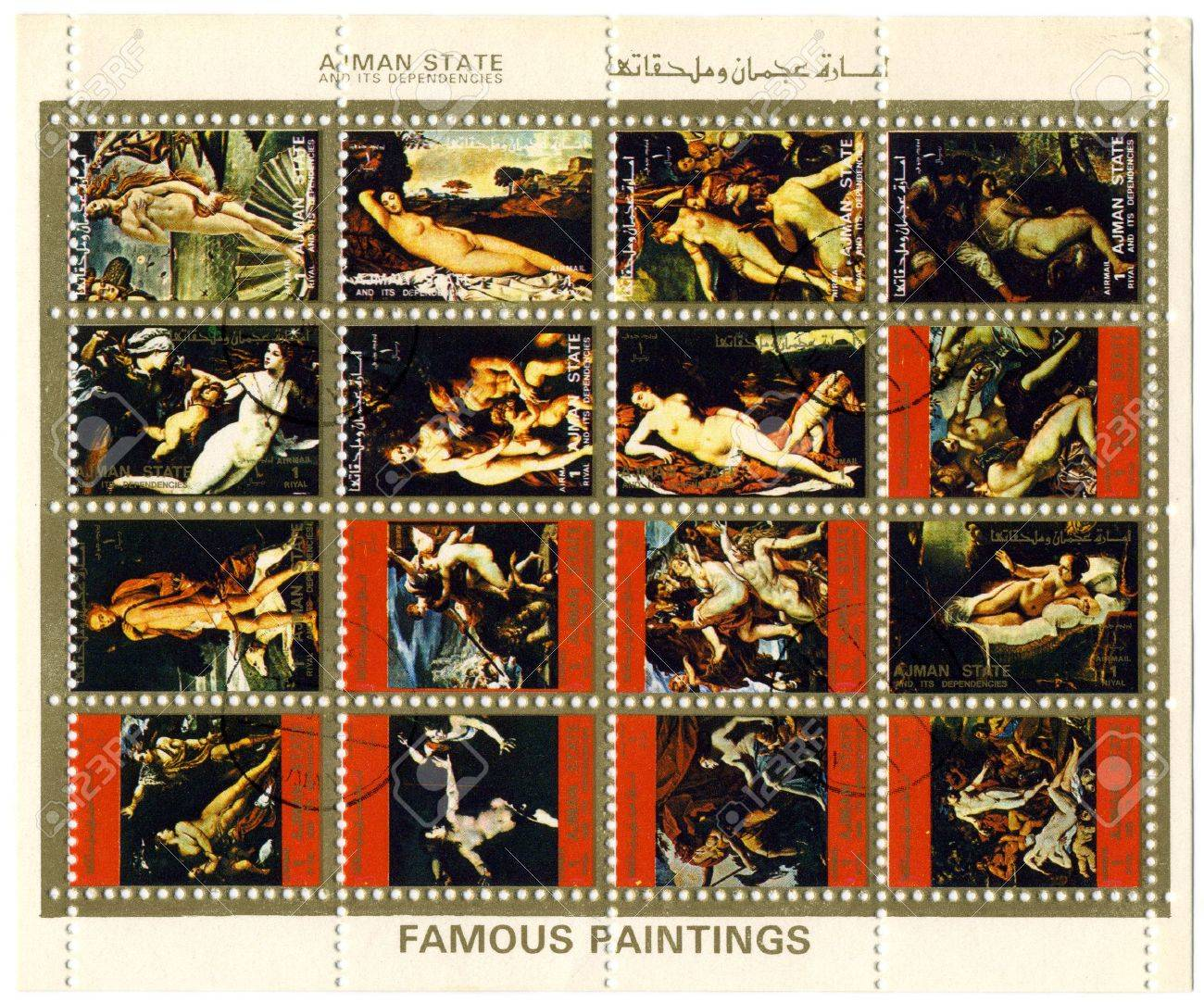 Ajman State circa 1973. A more stamp printed in Ajman shows image of the famous paintings. Stock Photo - 6890384