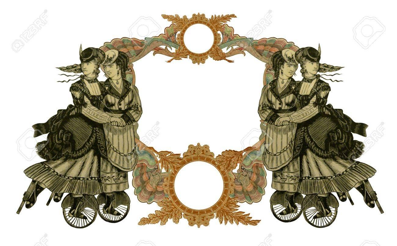 Luxuriös Illustriert Alten Viktorianischen Frame Mit Vier Frau Auf ...