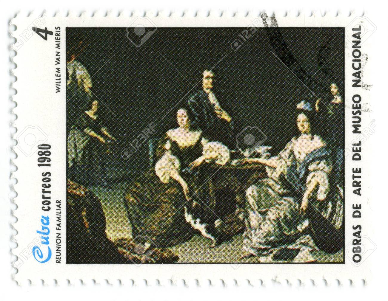CUBA - CIRCA 1980: A stamp printed in CUBA shows paint by WILLEM Van MIERIS