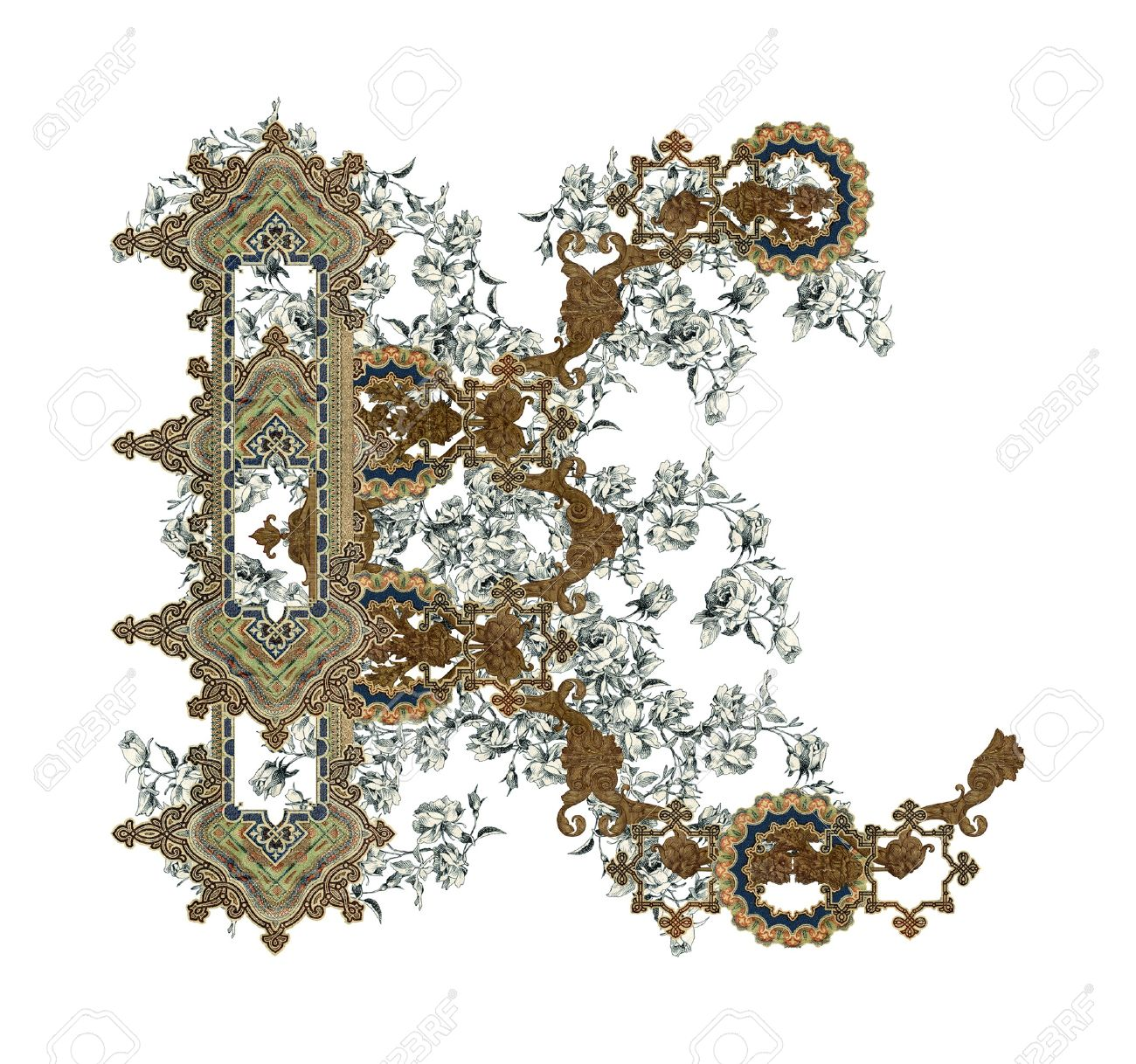Luxuriously illustrated old capital letter K with flowers. - 6971030