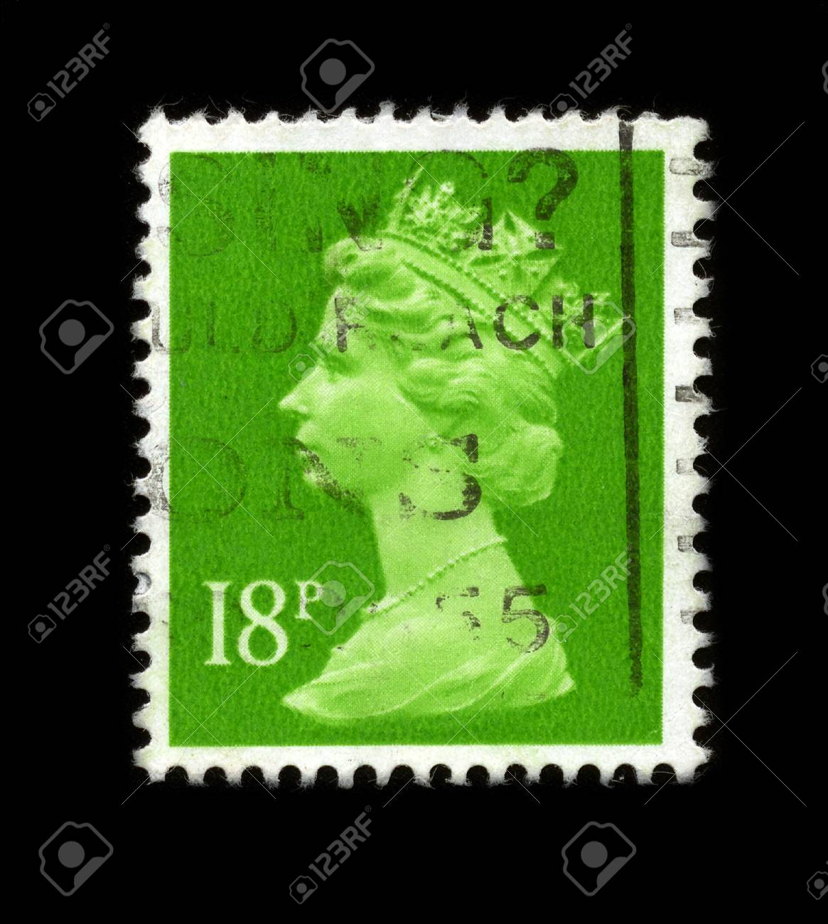 UNITED KINGDOM - CIRCA 1997: An English Used First Class Postage Stamp showing Portrait of Queen Elizabeth in light green circa 1997. Stock Photo - 7358094