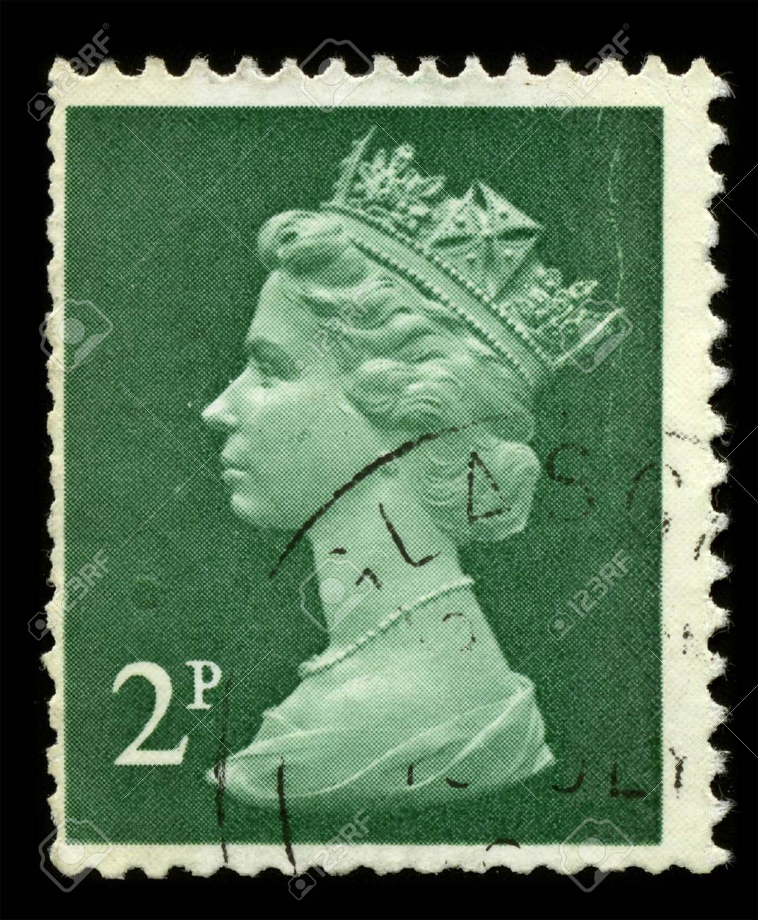UNITED KINGDOM - CIRCA 1973: An English Used First Class Postage Stamp showing Portrait of Queen Elizabeth in green circa 1973. Stock Photo - 7427924