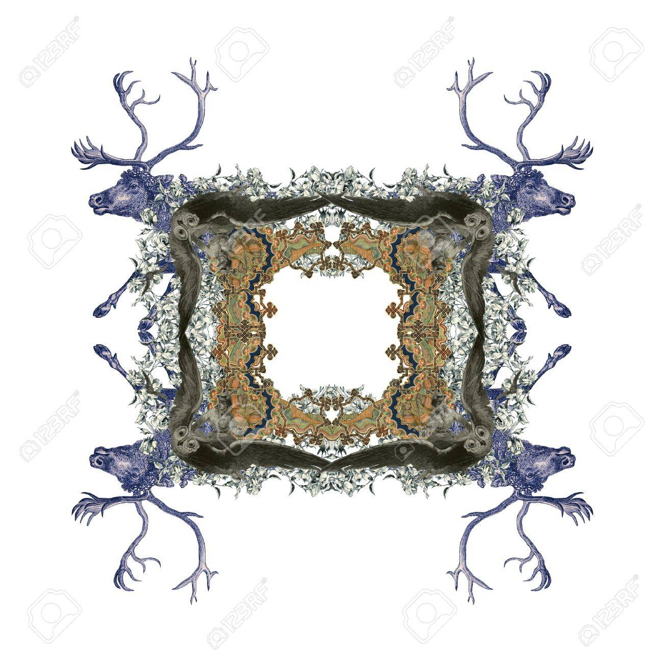 Luxuriously illustrated old Victorian frame with two girl flying to the two owl and two hunter. Stock Photo - 7616430