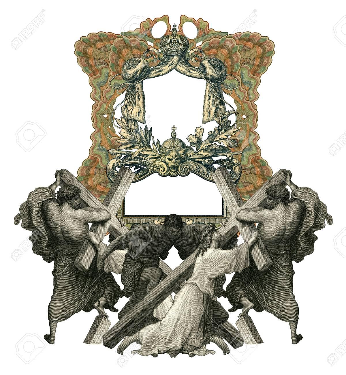 Victorian Rahmen Mit Jesus Christus Durch Das Gewicht Des Kreuzes ...