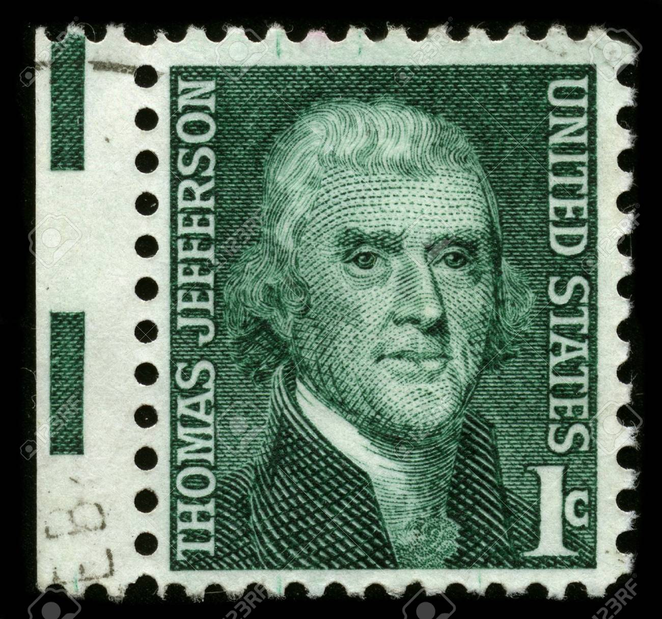 USA - CIRCA 1930: A stamp printed in USA shows image portrait Thomas Jefferson (April 13, 1743 � July 4, 1826) was the third President of the United States (1801�1809), circa 1930. Stock Photo - 7840463