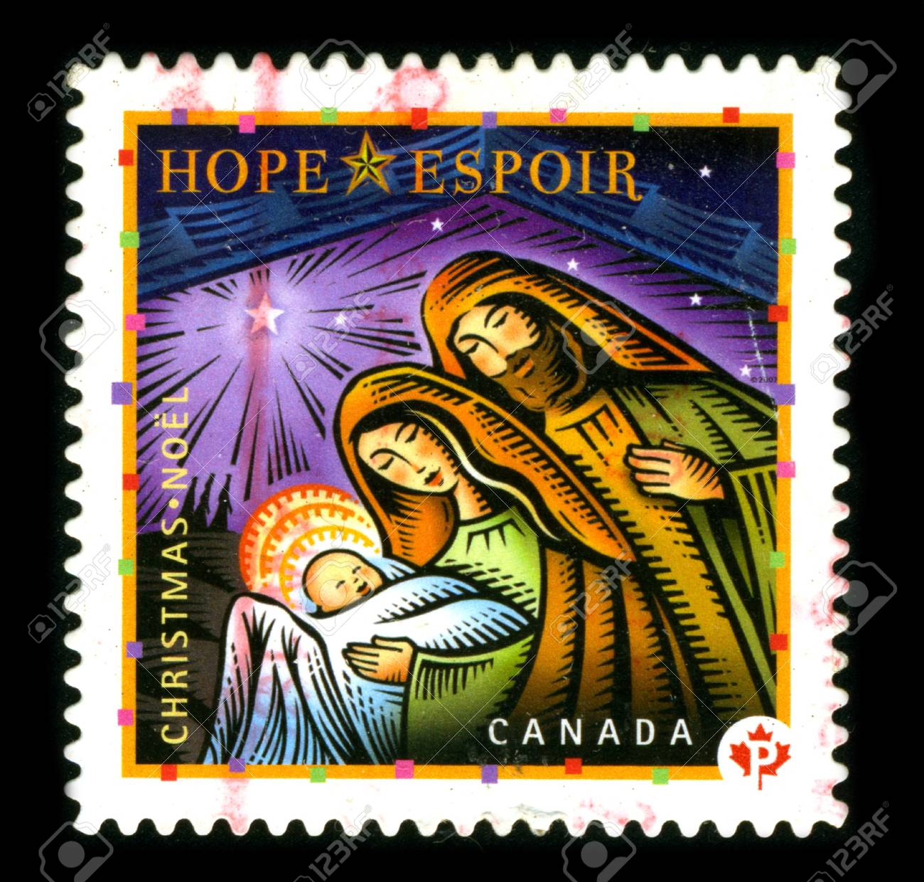 CANADA - CIRCA 1980: A stamp printed in CANADA shows image of the dedicated to the Christmas circa 1980. Stock Photo - 8150128