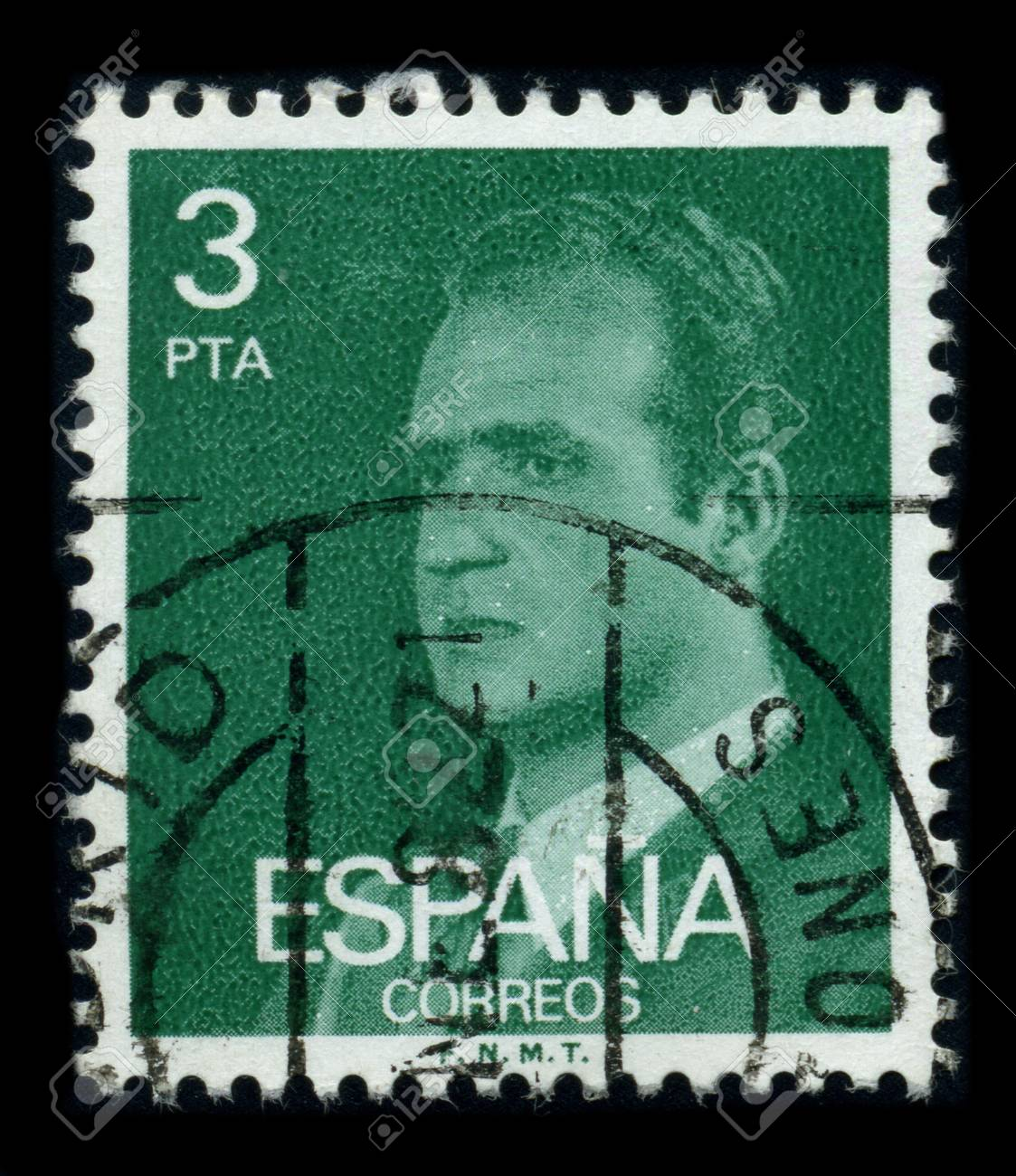 SPAIN - CIRCA 1990: A stamp printed in SPAIN shows image portrait Juan Carlos I (baptized as Juan Carlos Alfonso Victor Maria de Borbon y Borbon-Dos Sicilias; born in Rome, 5 January 1938) is the reigning King of Spain circa 1990. Stock Photo - 8194323