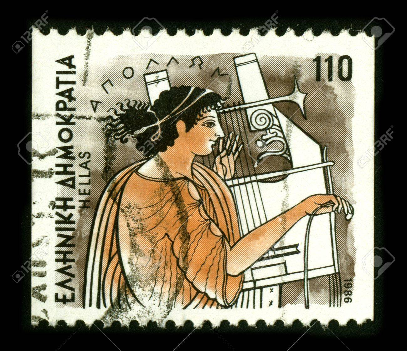 GREECE - CIRCA 1986: A stamp dedicated to the Apollo is one of the most important and diverse of the Olympian deities in Greek and Roman mythology, circa 1986. Stock Photo - 8645081