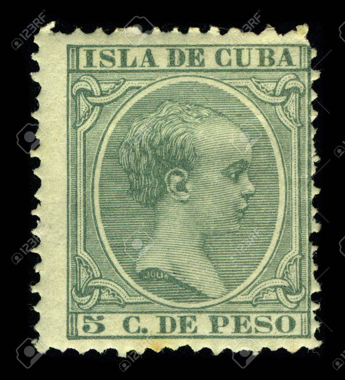 CUBA-CIRCA 1890:A stamp printed in CUBA shows image of the Alfonso XIII ( Alphonse Leon Ferdinand Mary James Isidor Pascal Anthony of Bourbon and Austria-Lorraine) (Madrid, 17 May 1886 - Rome, 28 February 1941), King of Spain, posthumous son of Alfonso XI Stock Photo - 9144052