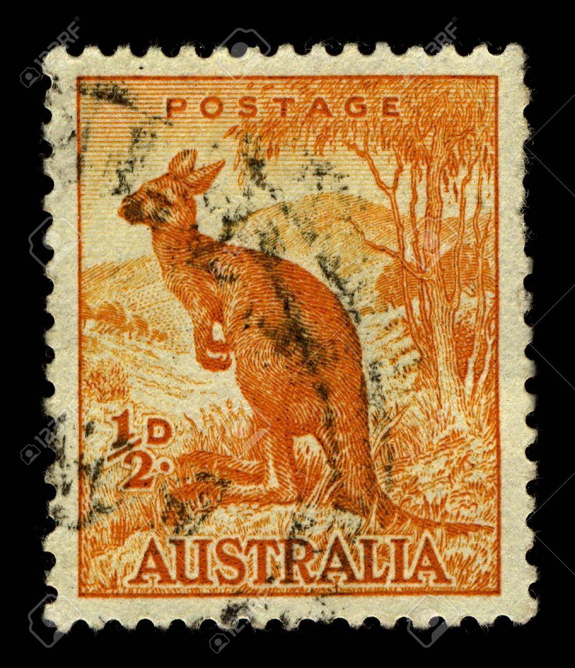 AUSTRALIA-CIRCA 1937:A stamp printed in AUSTRALIA shows image of Macropus is a marsupial genus that belongs to the family Macropodidae, it has 14 species which are further divided into 3 subgenera, circa 1937. Stock Photo - 10321630