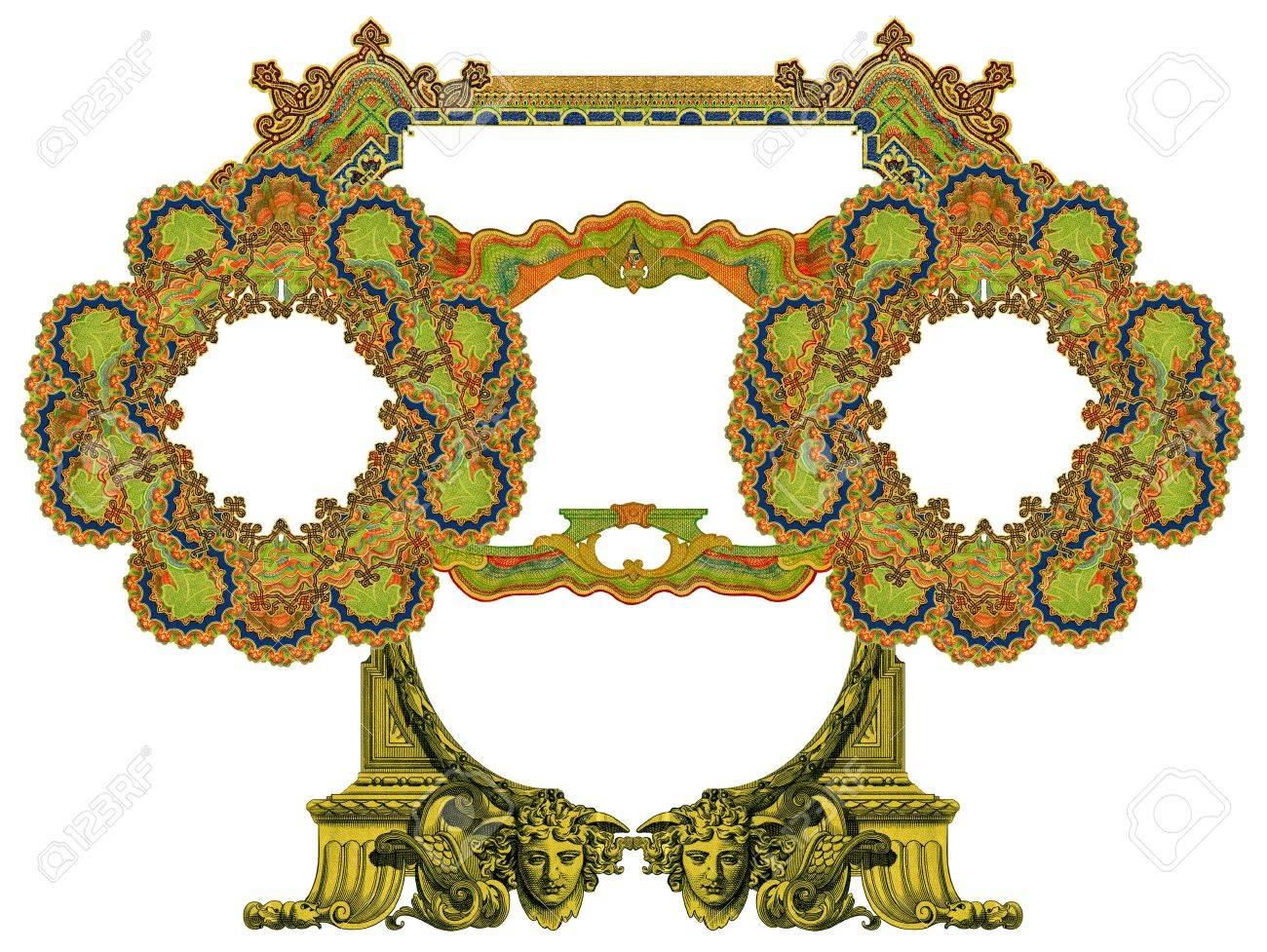 Luxuriös Illustriert Alten Viktorianischen Frame. Lizenzfreie Fotos ...