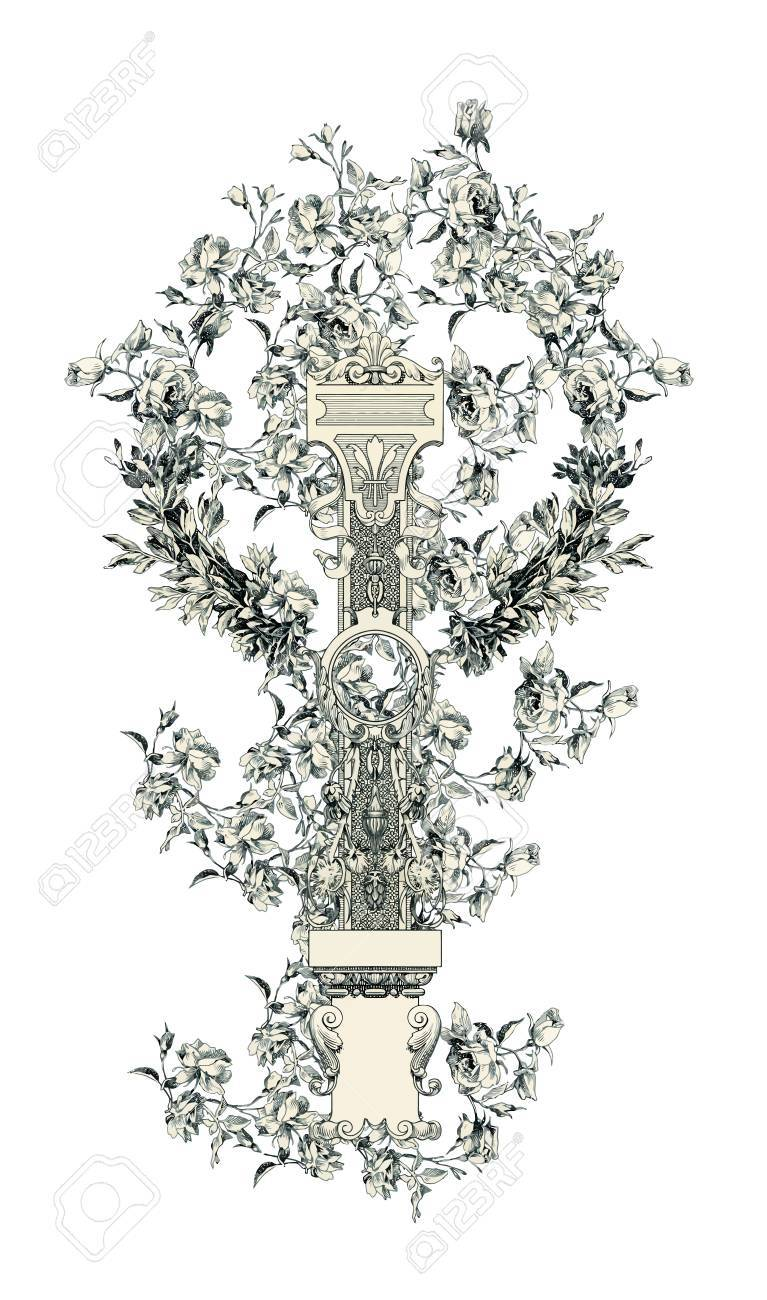 Capital letter I from flowers in vector. Stock Vector - 13911661