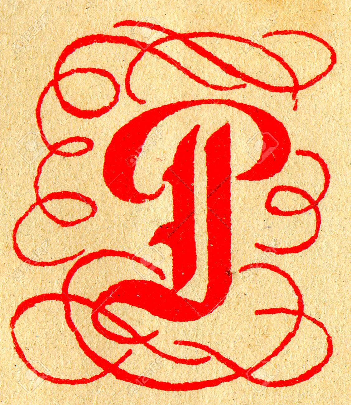 Initials Letter P Stock Photo