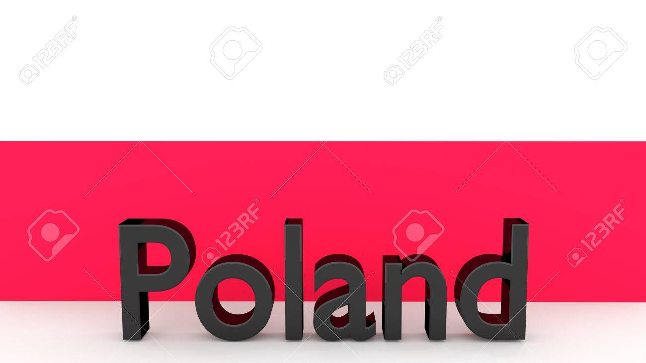 writing poland made of dark metal in front of a polish flag stock