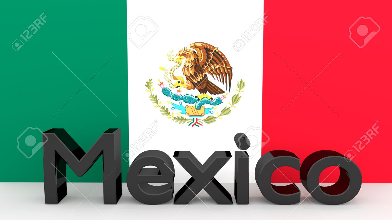 writing mexico made of dark metal in front of a mexican flag stock