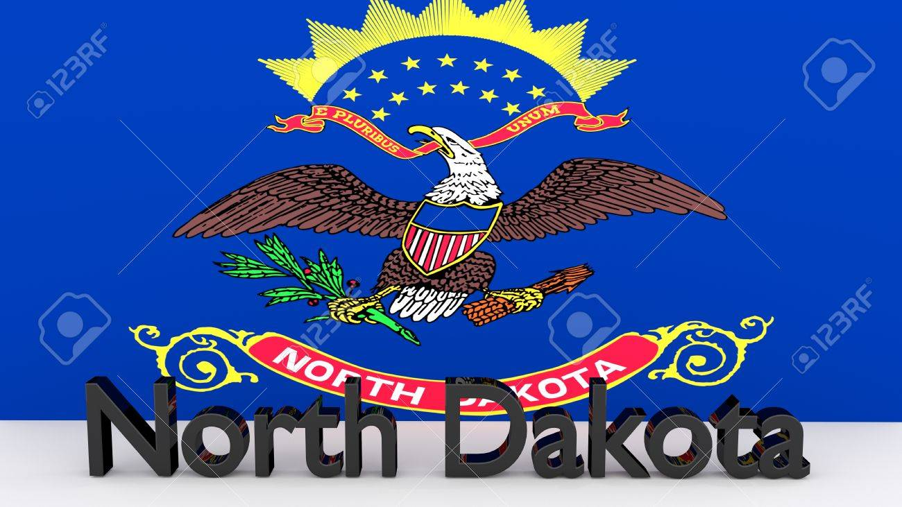 Writing With The Name Of The Us State North Dakota Made Of Dark