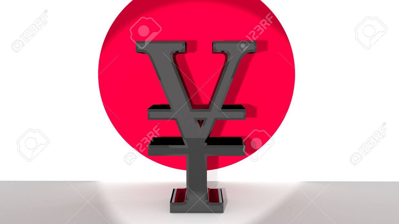 Currency Symbol For Japanese Yen Made Of Dark Metal In Front