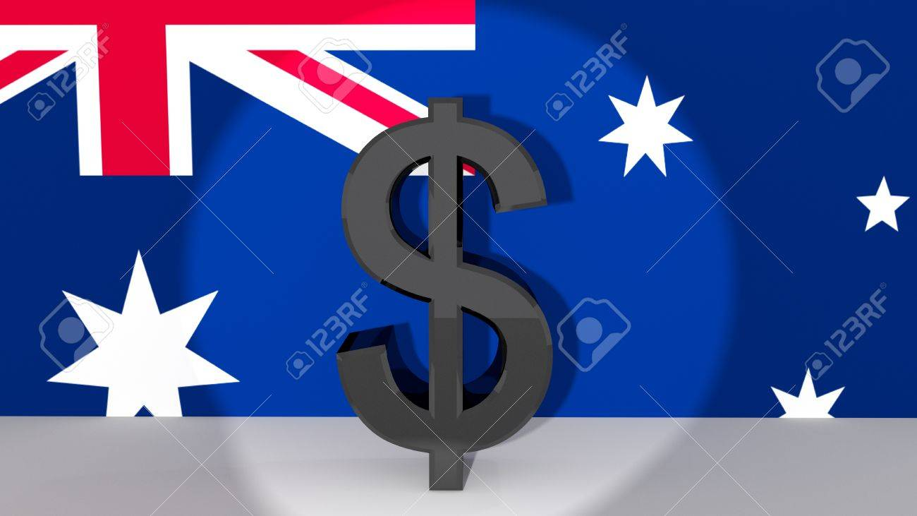 Currency Symbol Australian Dollar Made Of Dark Metal In Spotlight
