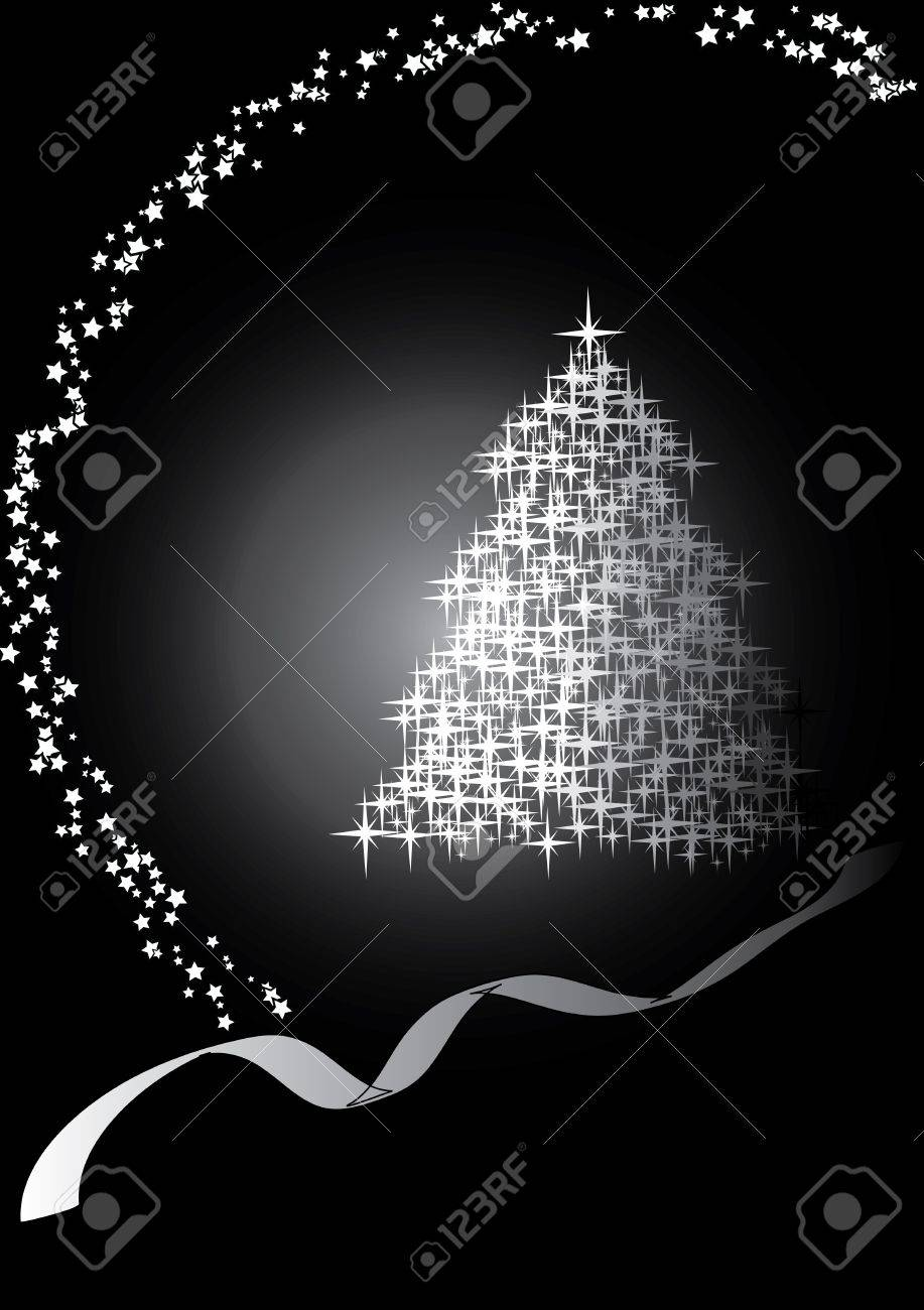 Fir Tree Blackwhite Merry Christmas And Happy New Year Vector