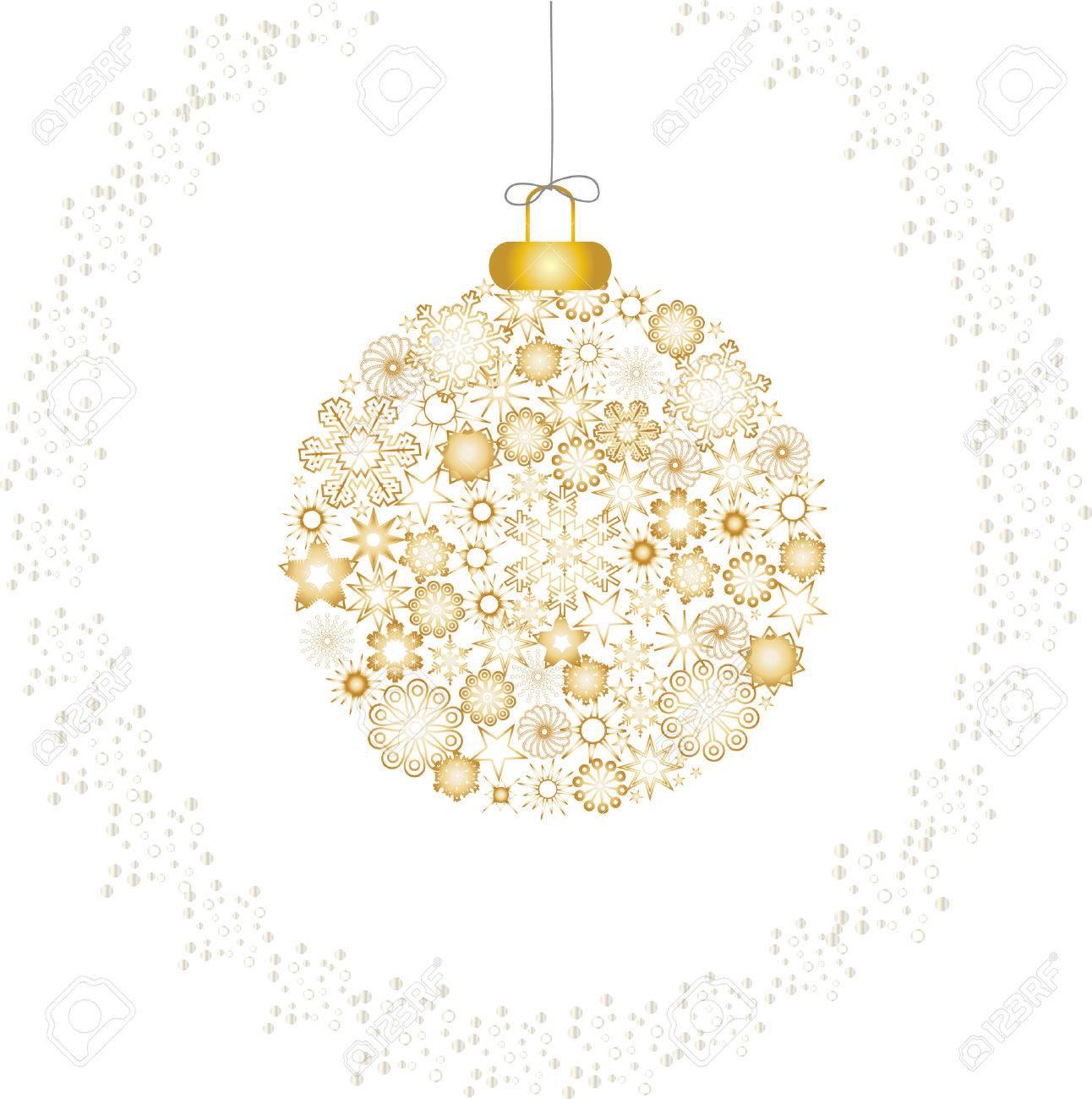 Christmas decoration snowflakes gold white Stock Vector - 5919336