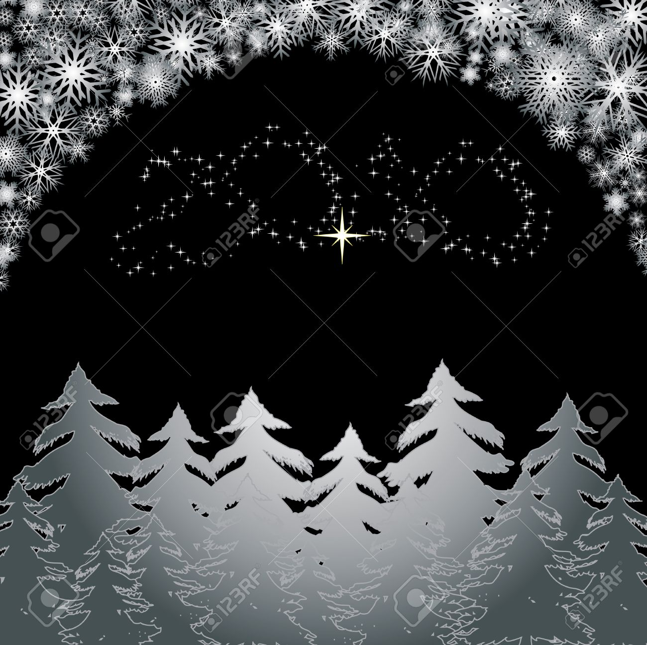 silver forest merry christmas and happy new year background for your greetings card stock