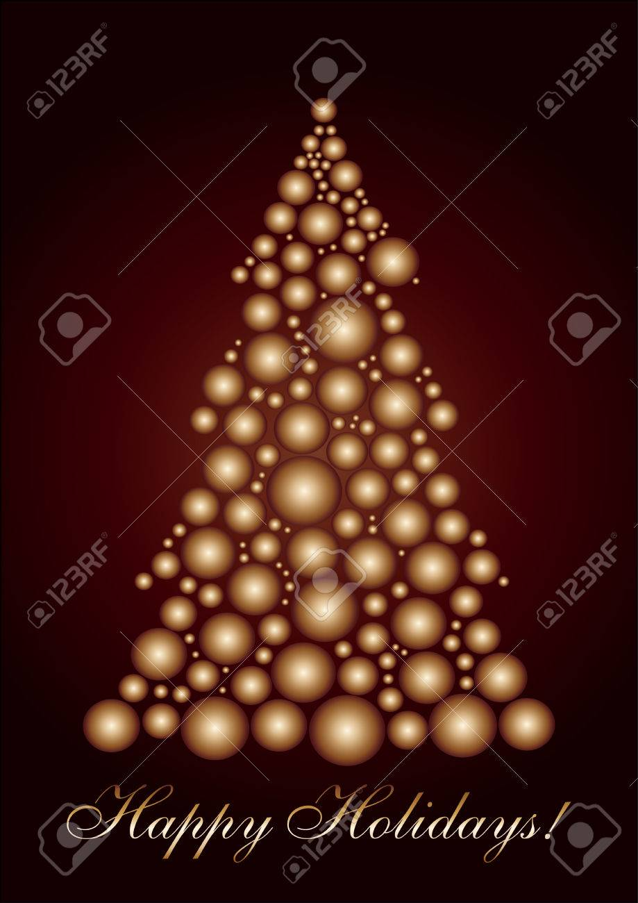 Circle Christmas tree gold, Merry Christmas and a Happy New Year! vector available Stock Vector - 6010156