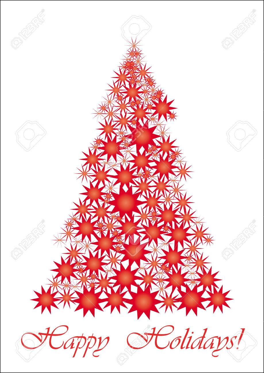 Red Starry Christmas tree, All your friends worldwide will understand wish of Happy Holidays, vector illustration Stock Vector - 6010129