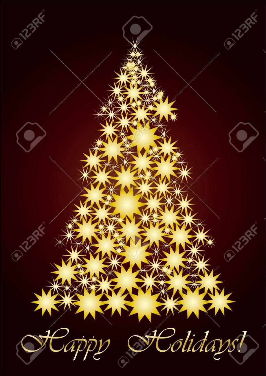 Unusual Christmas Tree Starry Christmas Tree Gold Vector Illustration Unusual Christmas