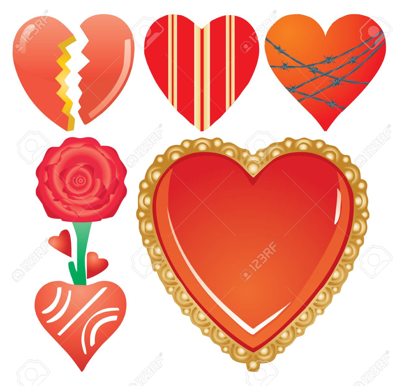 Set of valentine`s hearts, part 7, vector illustration Stock Vector - 6262757