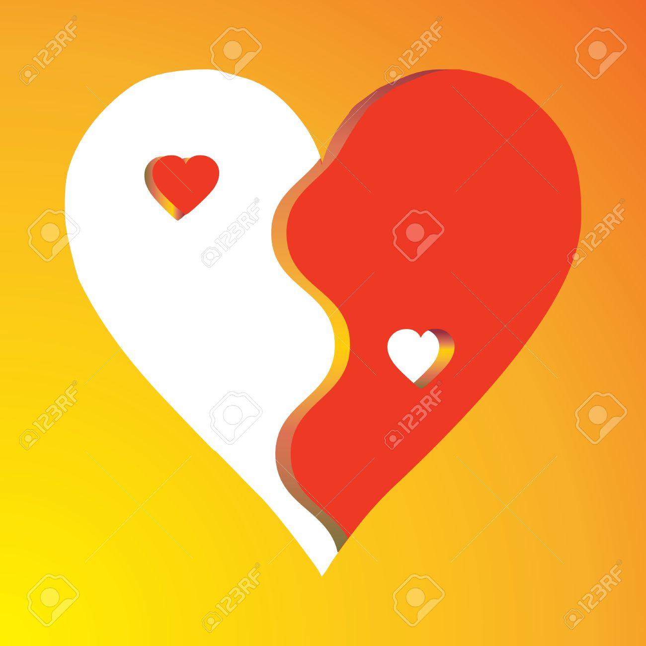 Love Yin Yang on yellow background, vector Stock Vector - 6262766