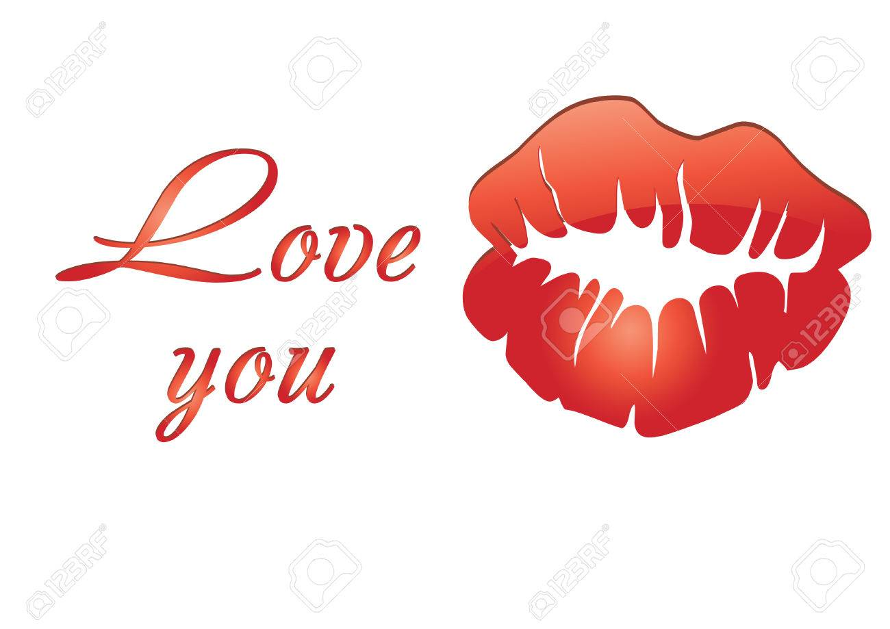 Red Lips And Love Words On Valentine Card Royalty Free Cliparts – Valentine Card Words