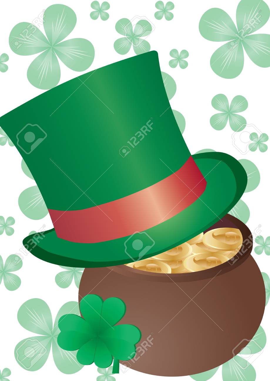 Vector background with Top Hat and four-leafed clover for St. Patrick`s day Stock Vector - 6354285