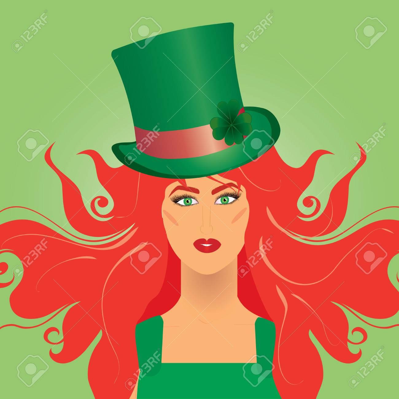 Irish girl in green top-hat for St. Patrick`s day, vector illustration Stock Vector - 6354308