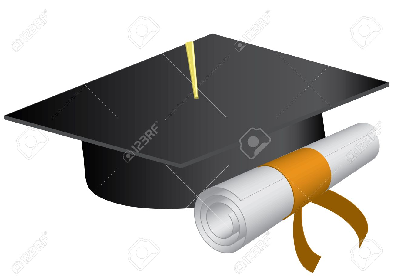 Graduation cap and diploma on a white background., vector illustration Stock Vector - 6499235