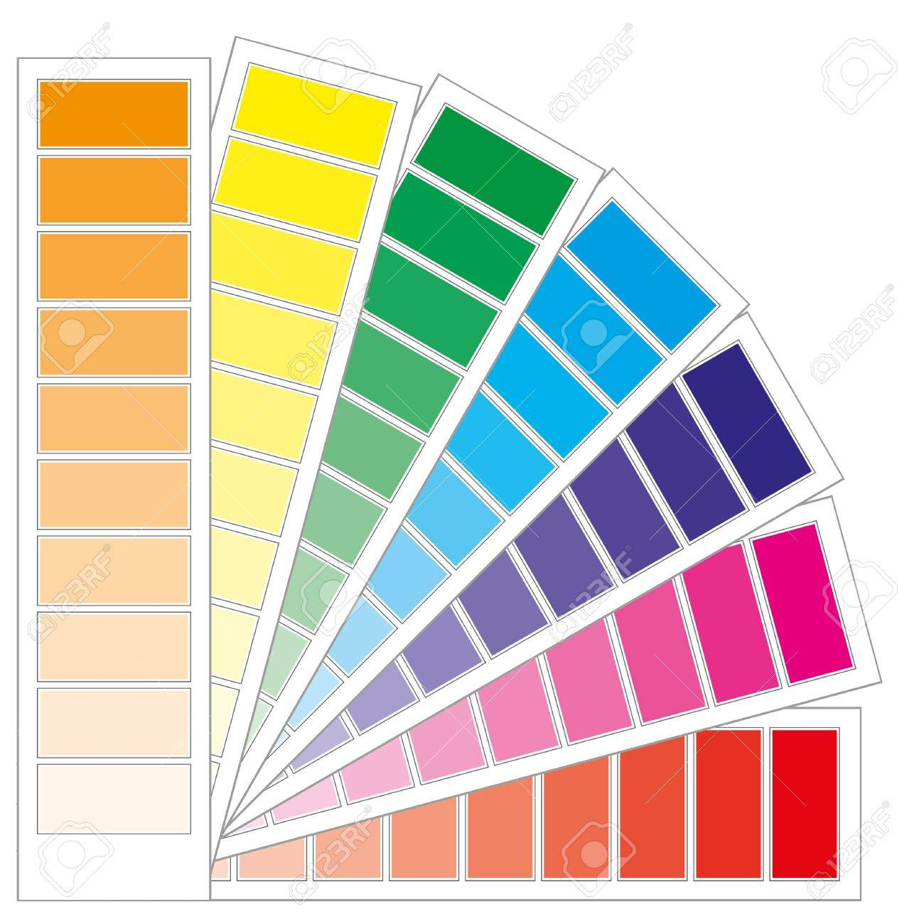Color chart rainbow - Color Guide Chart Cmyk Rainbow Background Part 3 Illustration Stock Vector 7450995