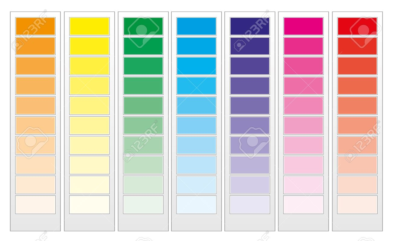 Color guide chart, cmyk rainbow background Stock Vector - 7646449