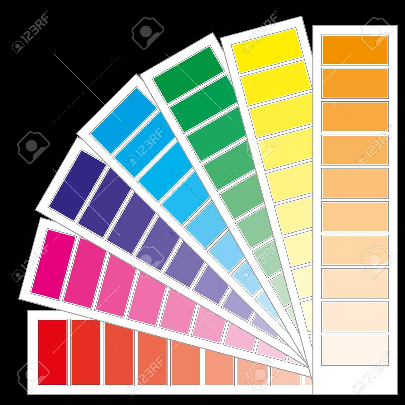 Color chart rainbow - Color Guide Chart Cmyk Rainbow Background Stock Vector 7646465