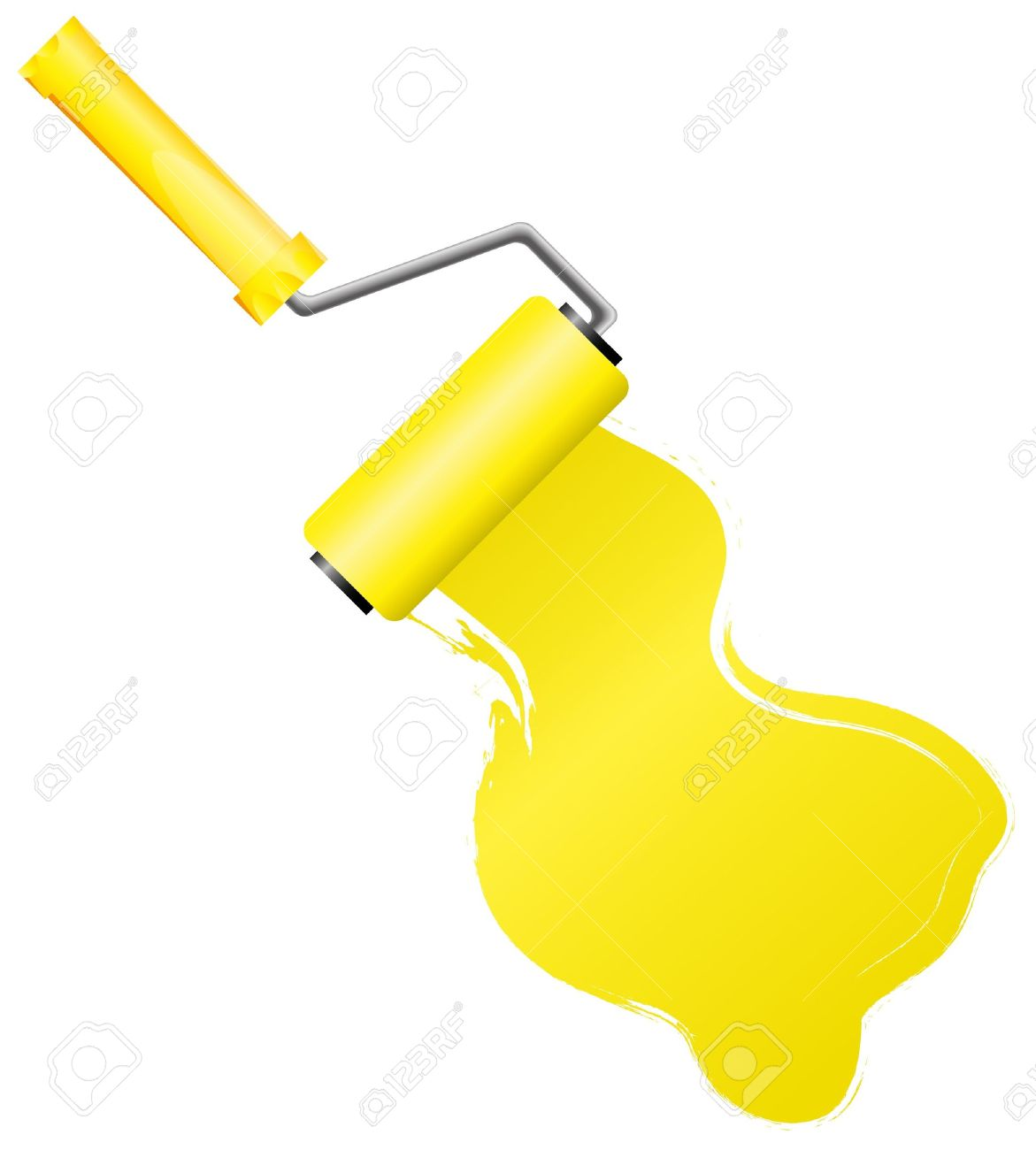 Yellow paint roller brush with yellow paint Stock Vector - 7646472