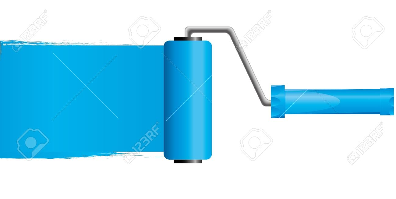 Blue Paint blue paint roller brush with blue paint royalty free cliparts