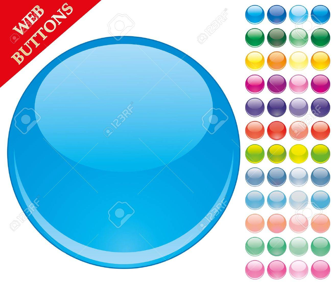 Set of 49 colored glass buttons, glossy icons, web spheres,   illustration Stock Vector - 8003788