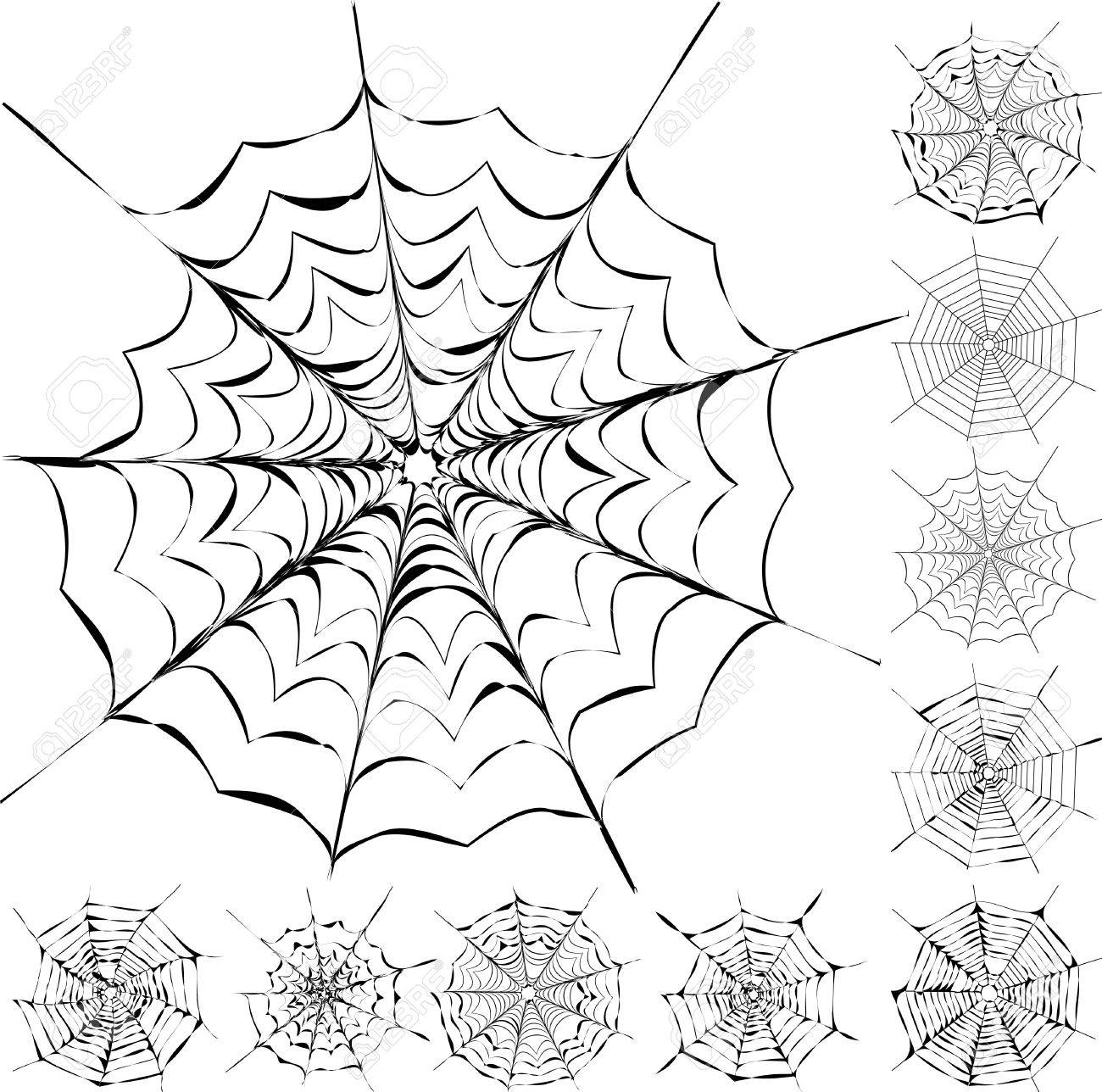 Set of 11 different spiderwebs isolated on white, easy to print, vector illustration Stock Vector - 8155557