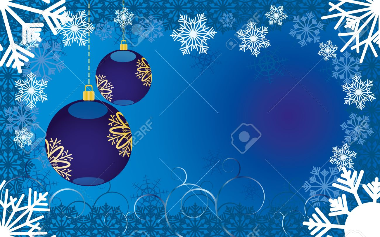 Blue christmas background with snowflakes and baubles,  illustration Stock Vector - 8313315