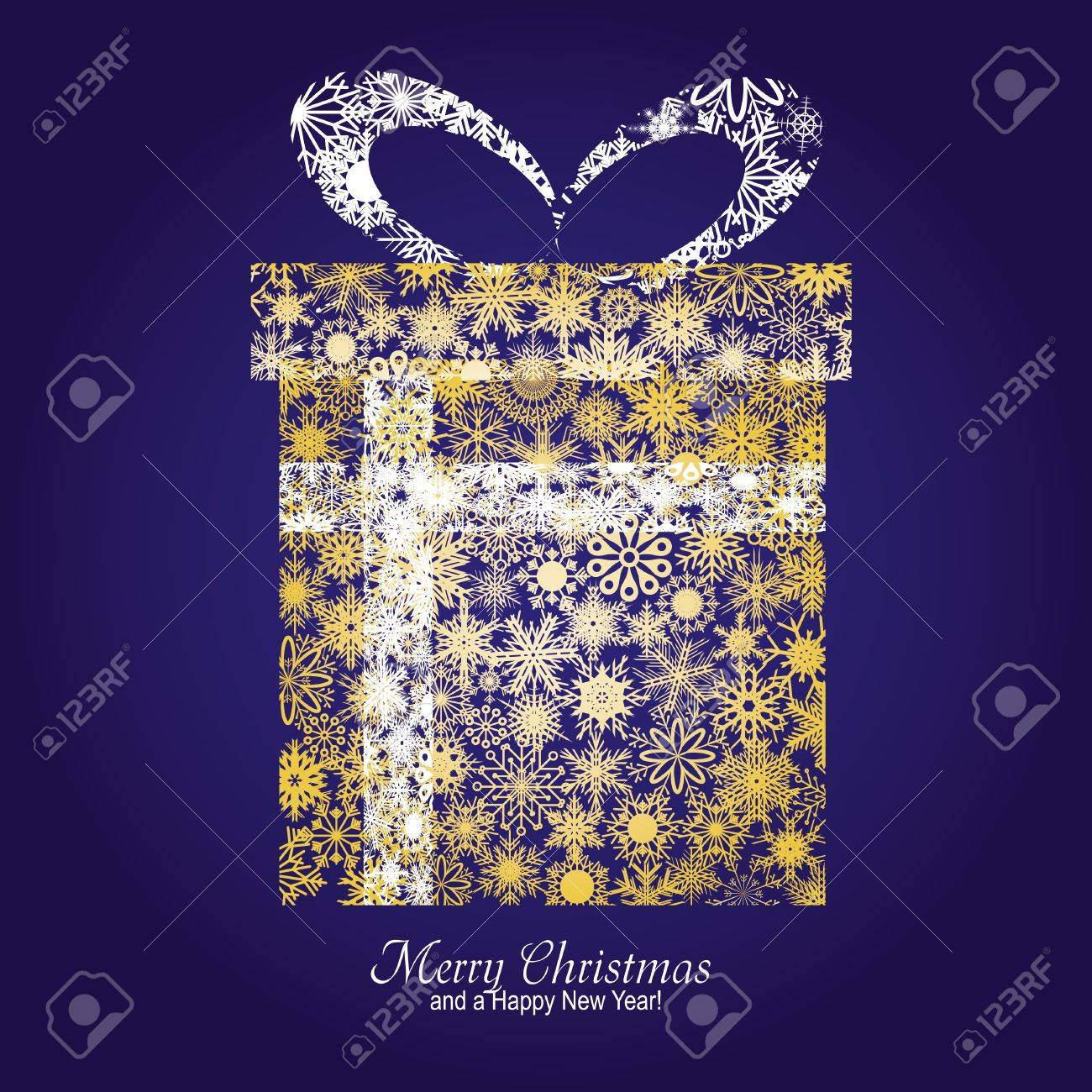 Christmas card with gift box made from gold snowflakes on blue background and a wish of Merry Christmas and a Happy New Year,   illustration Stock Vector - 8313323